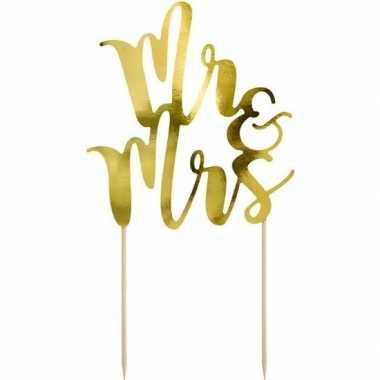 Bruidstaart versiering topper mr & mrs goud 25 cm