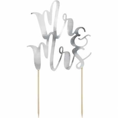 Bruidstaart versiering topper mr & mrs zilver 25 cm