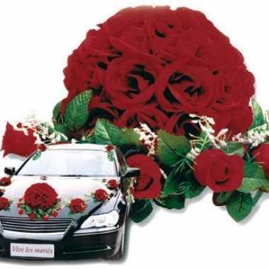 Bruiloft rozen versiering voor auto
