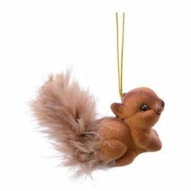 Bruine eekhoorn type 1 kerstversiering hangversiering 4 cm