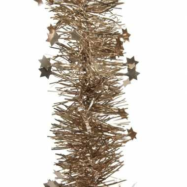 Bruine kerstversiering folie slinger met ster 270 cm