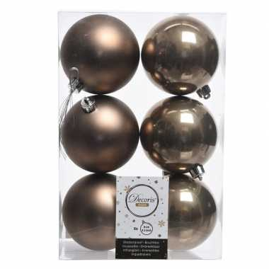 Bruine kerstversiering kerstballen kunststof 8 cm