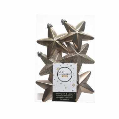 Bruine kerstversiering sterren kerstballen 7,5 cm