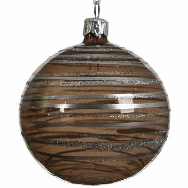 Bruine kerstversiering transparante kerstballen van glas 8 cm