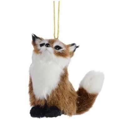 Bruine vos kerstversiering hangversiering 8 cm