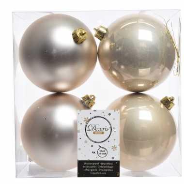 Champagne kerstversiering kerstballen kunststof 10 cm
