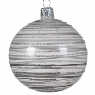 Champagne kerstversiering transparante kerstballen van glas 8 cm