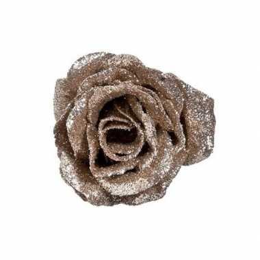 Champagne roos met glitters op clip 7 cm kerstversiering