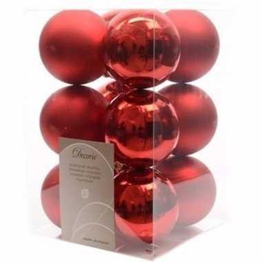 Christmas red kerstboom versiering kerstballen rood 12 x
