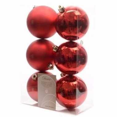 Christmas red kerstboom versiering kerstballen rood 6 x