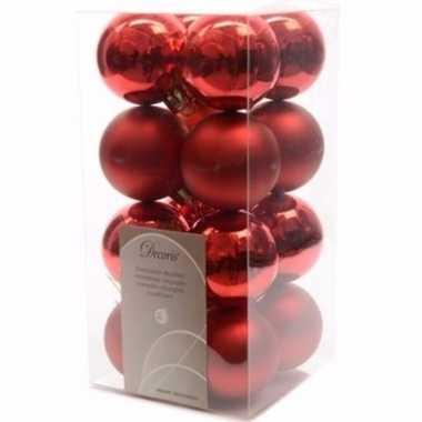 Christmas red kerstboom versiering kerstballetjes rood 16 x