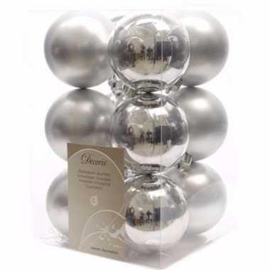 Christmas silver kerstboom versiering kerstballen zilver 12 x