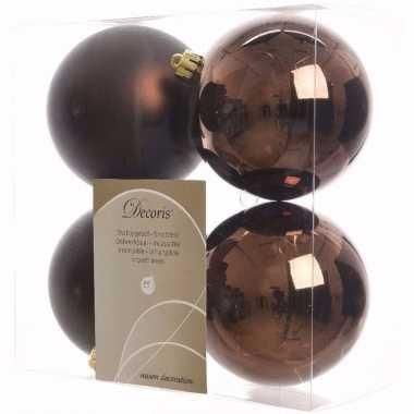 Cosy christmas kerstboom versiering kerstballen bruin 4 x