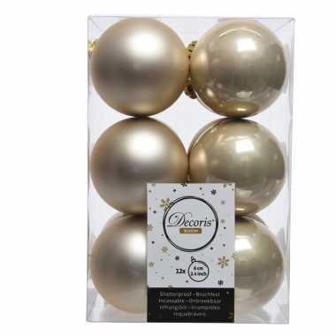 Creme kerstversiering kerstballen kunststof 6 cm