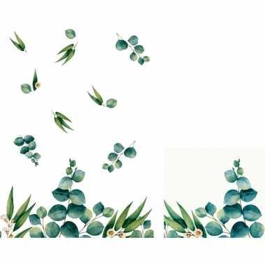 Design thema tafelversiering set eucalyptus servetten/tafelkleed