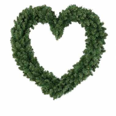 Deur versiering kerstkrans hart 50 cm