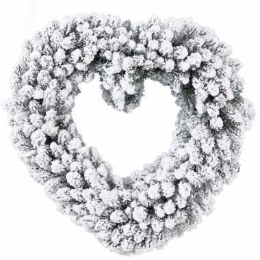 Deur versiering kerstkrans hart besneeuwd 50 cm