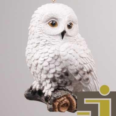 Dieren beeldje sneeuwuil hangversiering polystone 10 cm