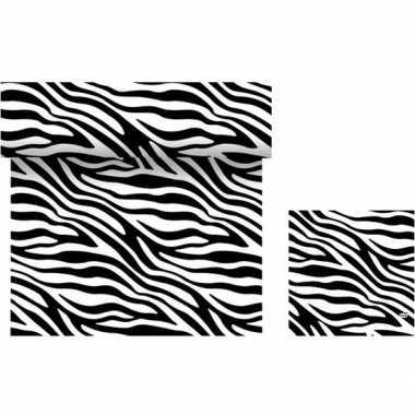 Dieren thema tafelversiering set zebra print tafelloper/servetten