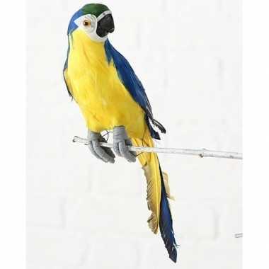 Dierenbeeld blauwe ara papegaai vogel 33 cm hangversiering