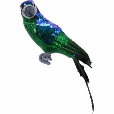 Dierenbeeld groene papegaai vogel 40 cm versiering