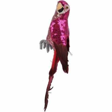 Dierenbeeld roze ara papegaai vogel 34 cm versiering