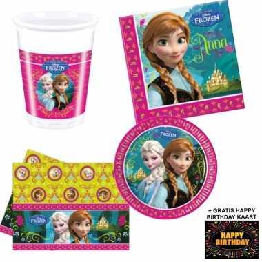 Disney frozen kinderfeestje versiering tafel pakket 8 pers + kaa