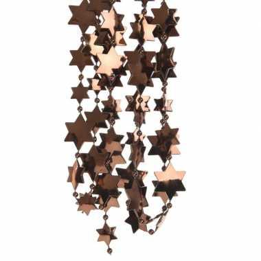 Donker bruine kerstversiering ster kralenslinger 270 cm