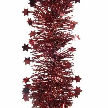Donker rode kerstversiering folie slinger met ster 270 cm