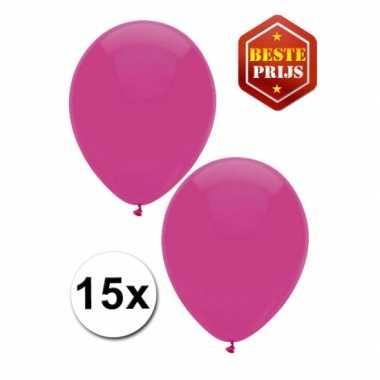 Donkerroze versiering ballonnen 15 stuks