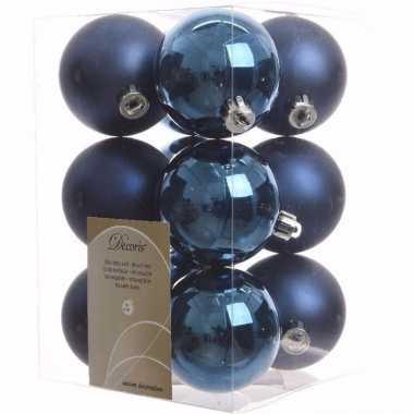Elegant christmas kerstboom versiering kerstballen blauw 12 x