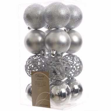 Elegant christmas kerstboom versiering kerstballen zilver 16 x