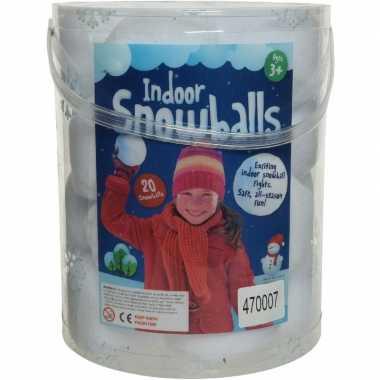 Emmer met 20x witte sneeuwballen 8 cm sneeuwversiering