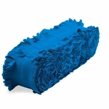 Feest/verjaardag versiering slingers blauw 24 meter crepe papier