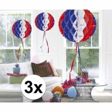 Feestversiering blauw wit rood versiering bollen 30 cm set van 3