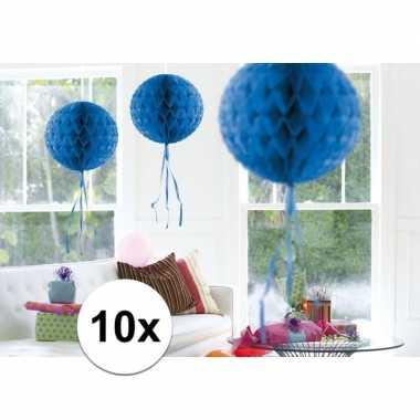 Feestversiering blauwe versiering bollen 30 cm set van 3