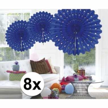 Feestversiering blauwe versiering waaier 45 cm acht stuks