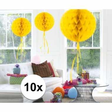 Feestversiering geel versiering bollen 30 cm set van 3