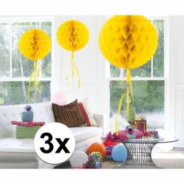 Feestversiering gele versiering bollen 30 cm set van 3