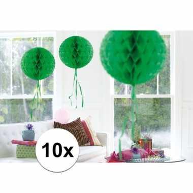 Feestversiering groene versiering bollen 30 cm set van 3