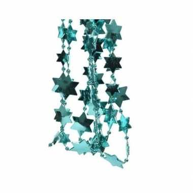 Feestversiering kralen slinger turkooise blauw sterretjes 270 cm kuns