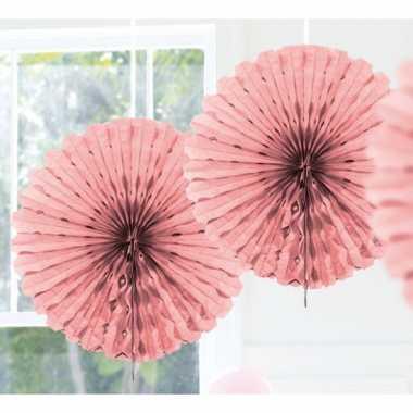 Feestversiering licht roze versiering waaier 45 cm