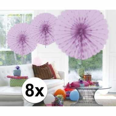 Feestversiering lila versiering waaier 45 cm acht stuks