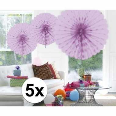 Feestversiering lila versiering waaier 45 cm vijf stuks