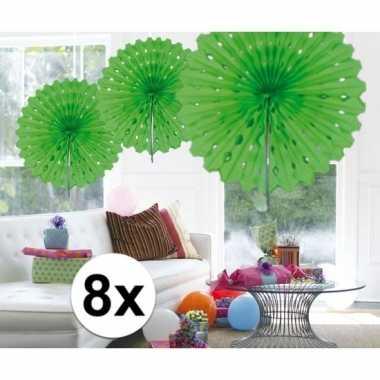 Feestversiering lime groen versiering waaier 45 cm acht stuks