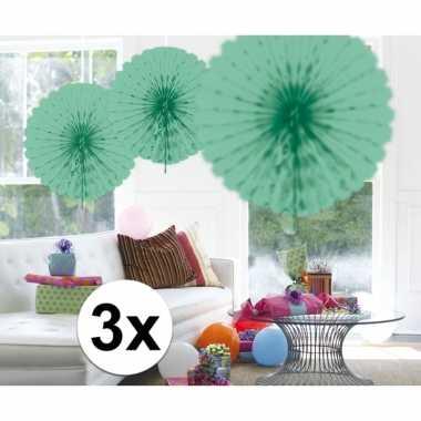 Feestversiering mint groene versiering waaier 45 cm drie stuks