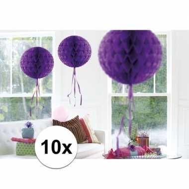 Feestversiering paarse versiering bollen 30 cm set van 3