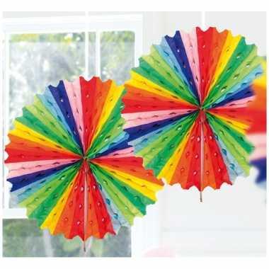 Feestversiering regenboog kleuren versiering waaier 45 cm