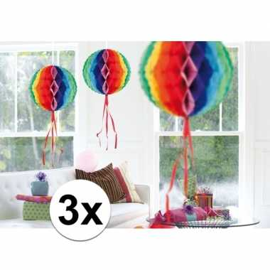 Feestversiering regenboog versiering bollen 30 cm set van 3