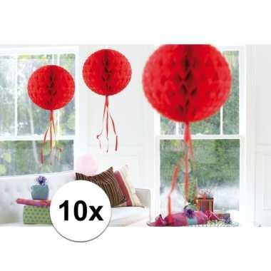 Feestversiering rode versiering bollen 30 cm set van 3